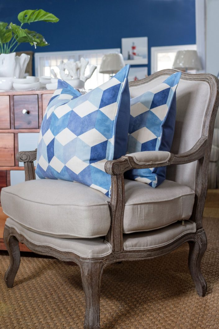 French style chair with blue scatter cushions