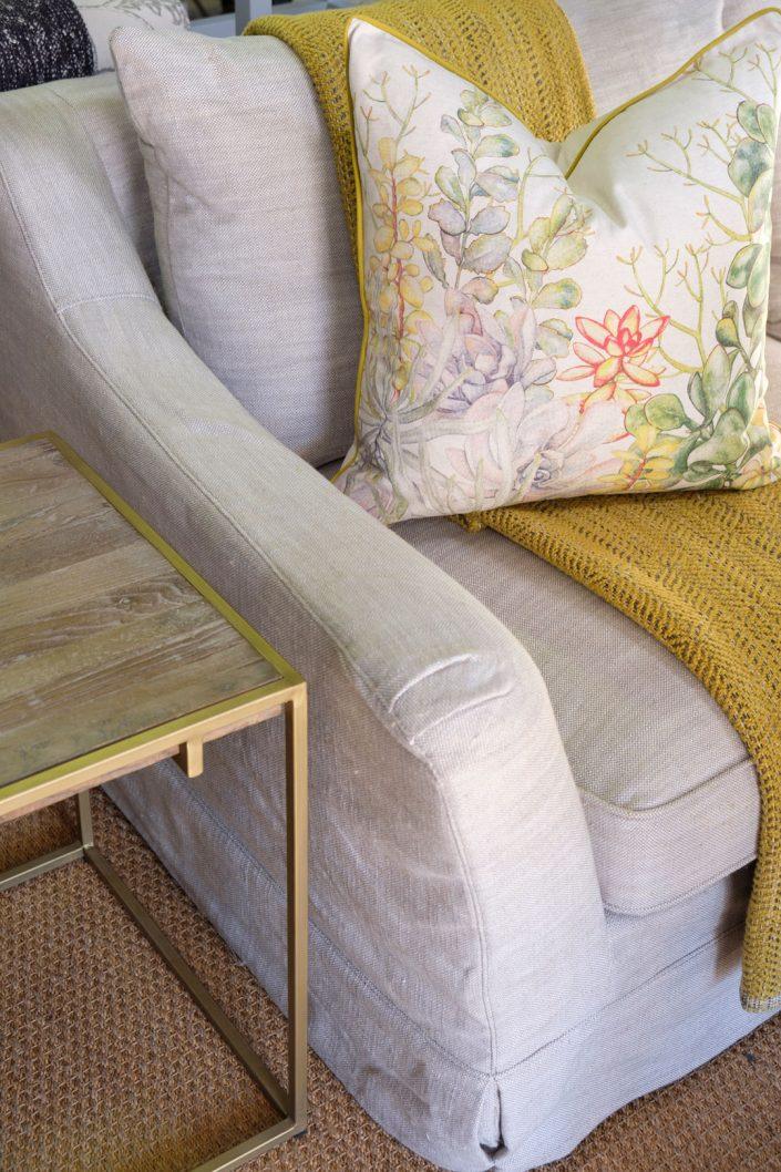 Linen couch armrest detail