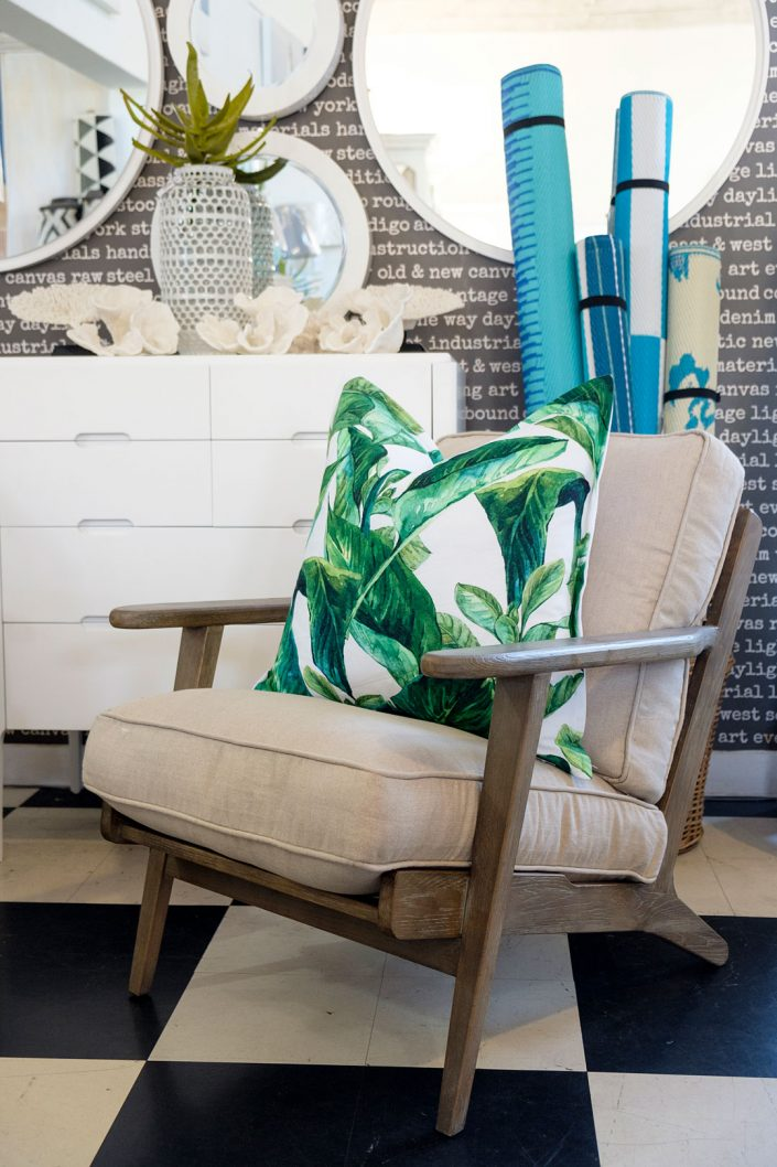 Linen chair with tropical scatter cushions