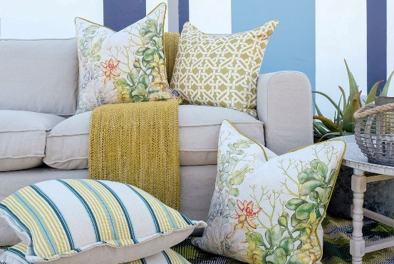 Scatter cushions on linen couch